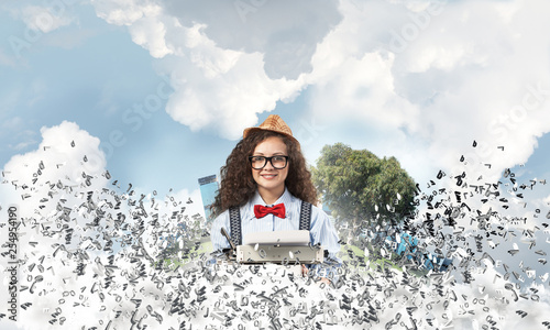 Leinwandbild Motiv Creative inspiration of young female writer.