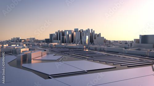 3d render. Low Poly city.