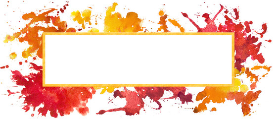 Hand drawn watercolor illustration of colorful splashes. Expressive decorative graphic frame with golden stroke. Isolated on white background. Bright idea, creative solution banner. © Evorona