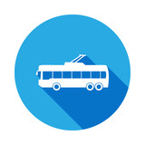 trolleybus icon with long shadow. Premium quality graphic design icon with long shadow. Signs and symbols can be used for web, logo, mobile app, UI, UX