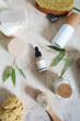 Leinwanddruck Bild - Face cream, serum, lotion, moisturizer and sea salt