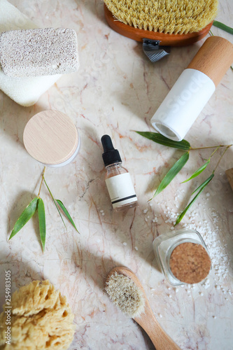 Leinwanddruck Bild Face cream, serum, lotion, moisturizer and sea salt