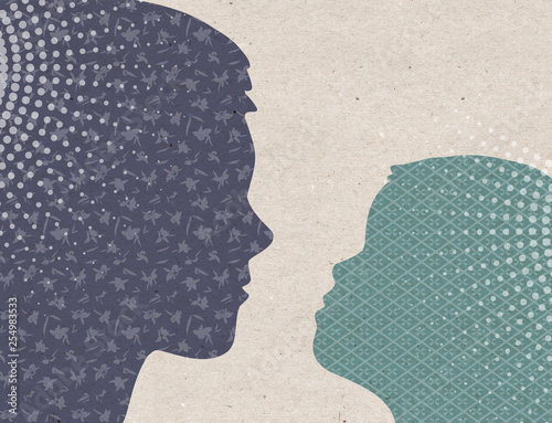 Profile drawn silhouettes - Mother with Child - 254983533