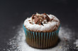 chocolate muffin with powder on a dark background. close ap. fresh bakery concept.