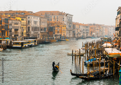 Venice / Italy 19 february 2019 :view of the Canal in Venice from Rialto bridge - 254994310