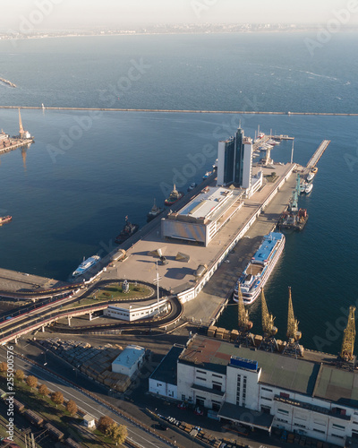 Aerial view panorama of Odessa with port and sea, Ukraine - 255000576