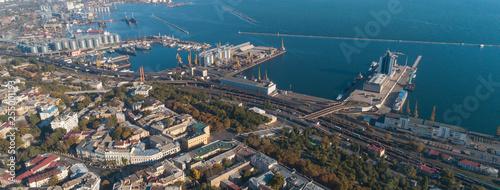 obraz lub plakat Aerial view panorama of Odessa with port and sea, Ukraine