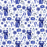 Seamless pattern, made of fashion set (dress, perfume, accessories, shoes and make up) in blue color, hand drawn illustration, isolated on white.