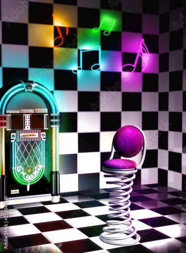 3d illustration of club interior with black and white background and a pink seat