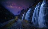 Starry night , Milky Way Over Waterfall