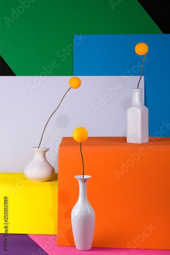 Abstract background of sheets of colored paper with white vases and balls, for decoration, for text design, for template - 255055989