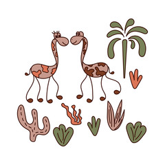 Funny long-necked animals, palm trees, plants. Vector illustration