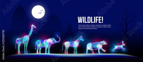 Wildlife animals under foolmoon in fantasy light art style.