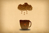 Creative concept photo of a cup of coffee and cloud with rain made of coffee beans. - 255065970