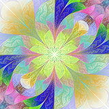 Multicolored flower pattern in mosaic style. You can use it for invitations, notebook covers, phone cases, postcards, cards, wallpapers. Artwork for creative design, art and entertainment. - 255069749