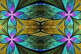 Beautiful flower pattern in stained-glass window style. You can use it for invitations, notebook covers, phone cases, postcards, cards, wallpapers and so on. Artwork for creative design. - 255070315