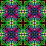 Beautiful seamless flower pattern in stained-glass window style. You can use it for invitations, notebook covers, phone cases, postcards, cards, wallpapers and so on. - 255070726