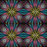 Beautiful seamless flower pattern in stained-glass window style. You can use it for invitations, notebook covers, phone cases, postcards, cards, wallpapers and so on. - 255071139