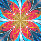 Beautiful multicolored fractal flower. Collection - frosty pattern. You can use it for invitations, notebook covers, phone case, postcards, cards, wallpapers. Artwork for creative design, art. - 255073157
