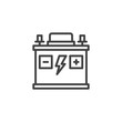 Car battery line icon. linear style sign for mobile concept and web design. Accumulator outline vector icon. Symbol, logo illustration. Pixel perfect vector graphics