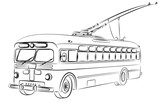 Sketch of old trolleybus.