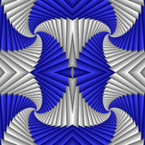 Seamless abstract festive pattern, blue and white. Tiled ethnic pattern. Geometric mosaic. Great for tapestry, carpet, blanket, bedspread, fabric, ceramic tiles, stained glass window, wallpapers - 255079596