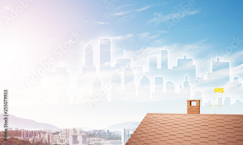 Concept of real estate and construction with drawn silhouette on big city background - 255079933