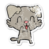 distressed sticker of a laughing cartoon dog