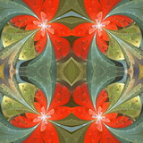 Floral pattern in stained-glass window style. You can use it for invitations, notebook covers, phone cases, postcards, cards, wallpapers and so on. Artwork for creative design. - 255081352