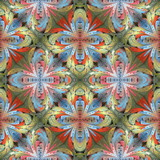 Multicolored floral pattern in stained-glass window style. You can use it for invitations, notebook covers, phone cases, postcards, cards, wallpapers and so on. Artwork for creative design. - 255081707