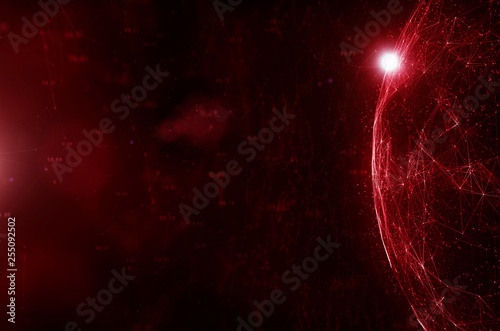 Abstract red network cyberspace globe background