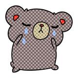 cartoon of a cute crying bear