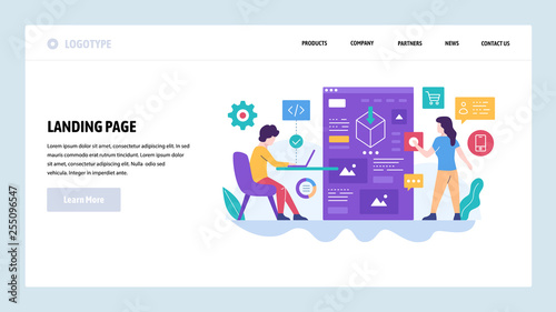 Vector web site design template. Software development, programmer and software architect coding an application. Landing page concepts for website and mobile development. Modern flat illustration
