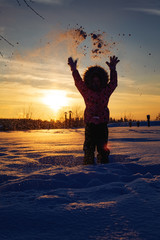 Fun in the winter sunset © Ilya