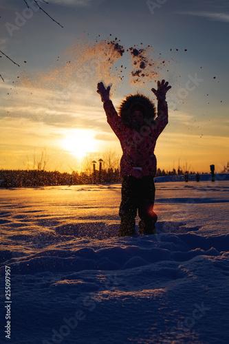 Fun in the winter sunset