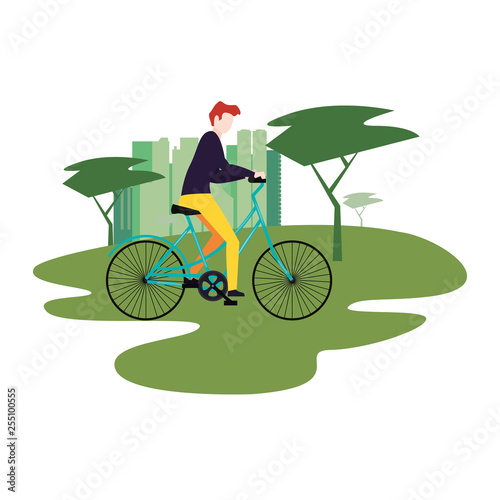 man riding bike