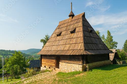 Traditional Serbian village Sirogojno landscape.
