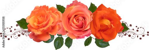 three bright orange roses decoration