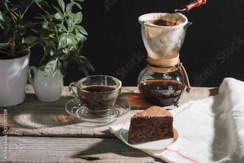 prepare drip coffee set for afternoon break under sunlight