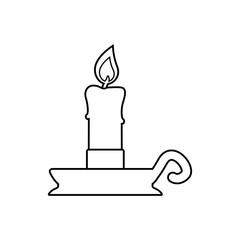 Icono plano lineal candelabro en color negro