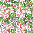 Seamless pattern with hand painted flamingos, tropical leaves, flowers on a white background in watercolor . - 255123975