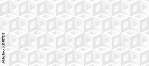 Realistic 3d vector cubes light texture, geometric seamless pattern, design white background for you projects  - 255137535