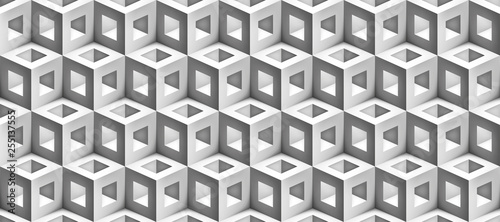 Realistic 3d vector cubes texture, geometric seamless pattern, design background for you projects  - 255137555