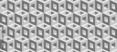 Realistic 3d vector cubes texture, geometric seamless pattern, design background for you projects  - 255137580