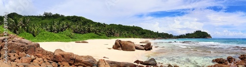 Stunning high resolution beach panorama taken on the paradise islands Seychelles - 255139162