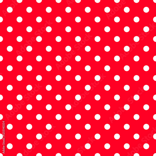 White polka dots on strawberry red background. Decorative seamless pattern - 255140354