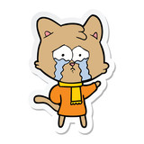 sticker of a cartoon crying cat