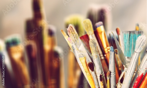 Different Artist brushes, close-up view