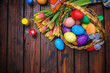 Easter background with tulips and painted eggs  - 255150127
