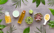 Leinwanddruck Bild - Spa background with hand made bio cosmetic and  cactus composition, flat lay, space for a text - Image.